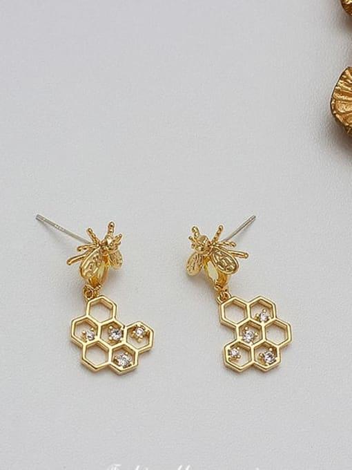 14K real gold Copper Alloy Zircon Gold Heart Trend Earring