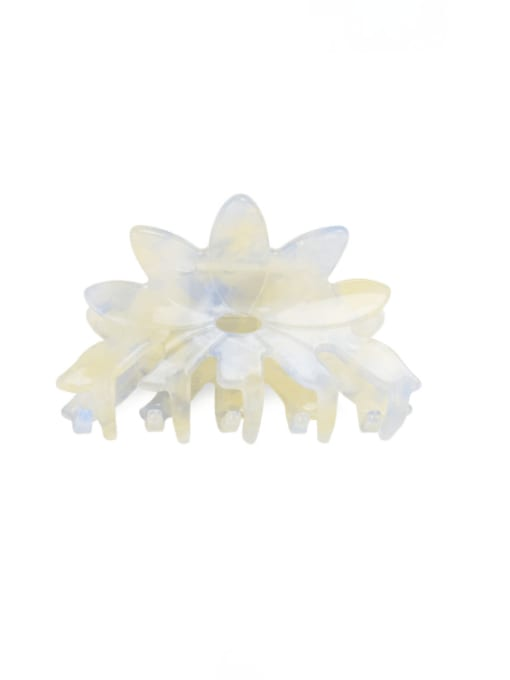 Transparent Beige Cellulose Acetate Minimalist Flower Multi Color Jaw Hair Claw