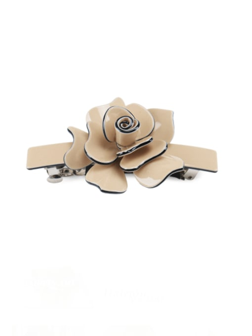 coffee Alloy Acrylic Minimalist Flower  Rhinestone Hair Barrette