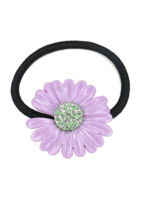 purple Cellulose Acetate Minimalist Flower Rhinestone Multi Color Hair Barrette