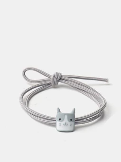 Gray square kitten head Alloy Enamel Cute Cat  Multi Color Hair Rope
