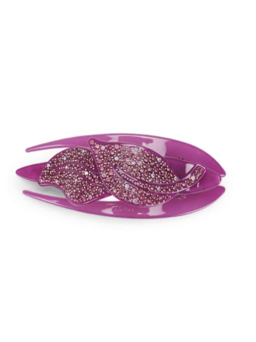 purple Acrylic Minimalist Leaf Rhinestone Multi Color Jaw Hair Claw