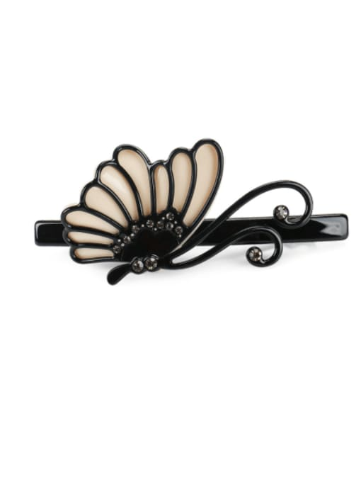 black Cellulose Acetate Minimalist Butterfly Rhinestone Hair Barrette