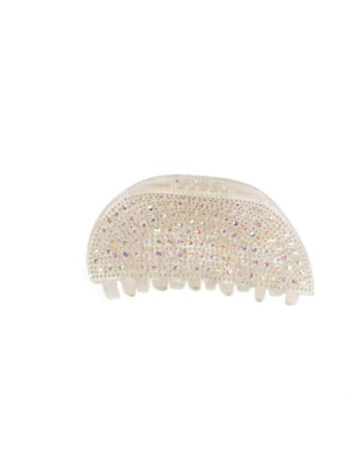 Small white Acrylic Minimalist Irregular Rhinestone Multi Color Jaw Hair Claw