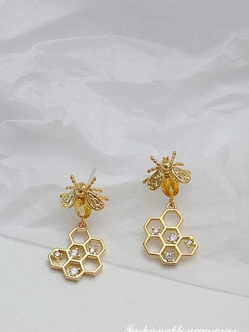 HYACINTH Copper Alloy Zircon Gold Heart Trend Earring