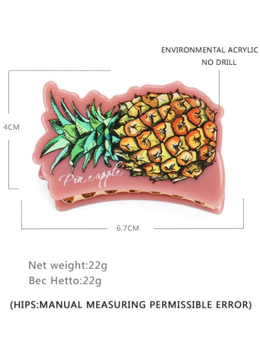 pineapple Cellulose Acetate Minimalist Friut Multi Color Jaw Hair Claw