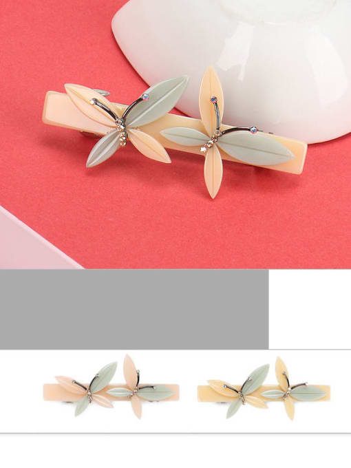 BUENA Cellulose Acetate Minimalist Butterfly Alloy Hair Barrette 2