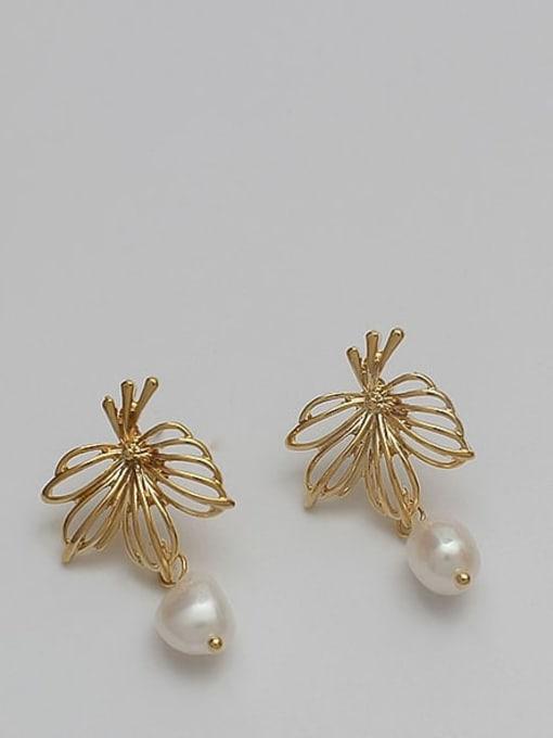 HYACINTH Copper Alloy Freshwater Pearl Gold Geometric Minimalist Earring 0