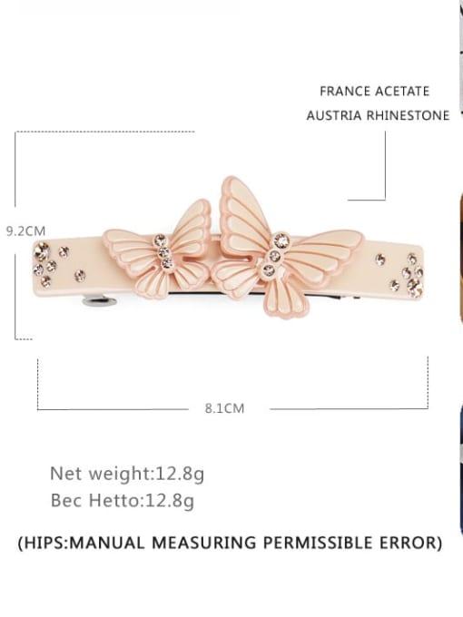 BUENA Cellulose Acetate Minimalist Butterfly  Rhinestone Hair Barrette 2