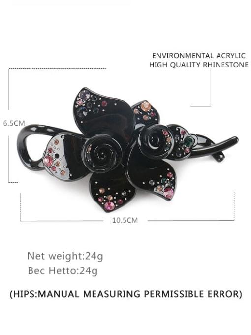 black Acrylic Minimalist Flower Rhinestone Multi Color Hair Barrette