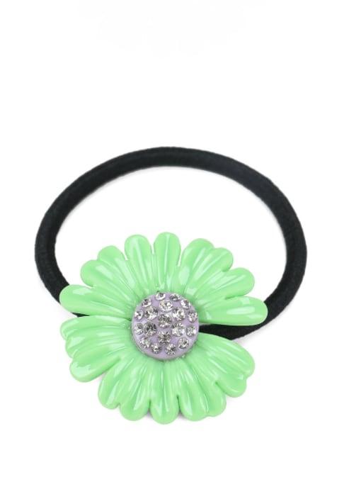 green Cellulose Acetate Minimalist Flower Rhinestone Multi Color Hair Barrette