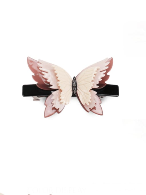 Wine red rice white Cellulose Acetate Minimalist Butterfly Alloy Rhinestone Hair Barrette