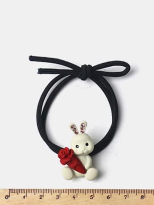 JoChic Alloy Cute Rabbit  Rhinestone White Hair Rope 1