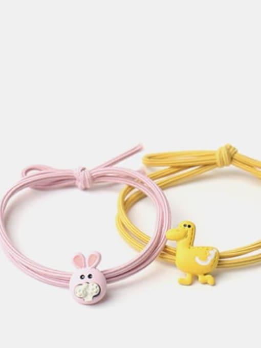 JoChic Cute Light Pink Rabbit Yellow Duckling Pink Pig Hair Rope 0