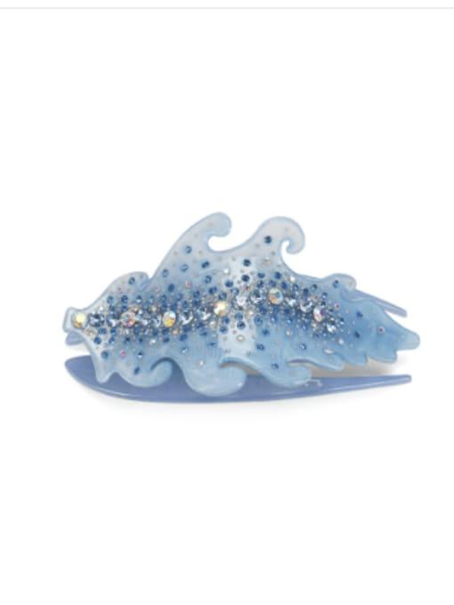 Light blue Acrylic Minimalist Leaf Rhinestone Multi Color Jaw Hair Claw