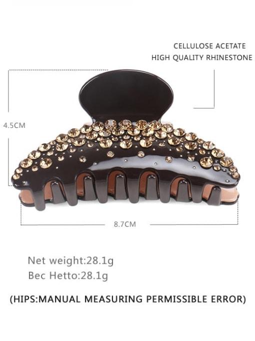 Brown Pink Champagne Diamond Cellulose Acetate Minimalist Geometric Rhinestone Jaw Hair Claw