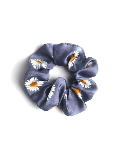 Blue satin Daisy large intestine ring Fabric Minimalist Hair Barrette