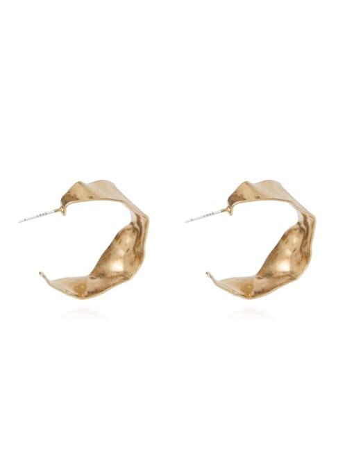 HYACINTH Copper Alloy Gold Geometric Minimalist Hoop Earring 4