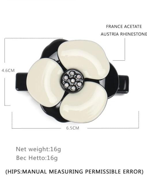 Black and white trumpet Cellulose Acetate Minimalist Flower Alloy Rhinestone Hair Barrette