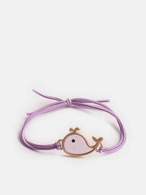violet Alloy+Cute Fish  Multi Color Hair Rope