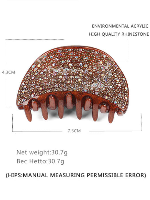 Large brown Acrylic Minimalist Irregular Rhinestone Multi Color Jaw Hair Claw