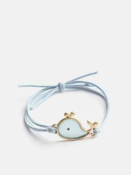 blue Alloy+Cute Fish  Multi Color Hair Rope