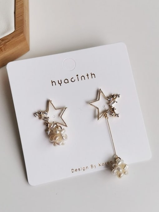 HYACINTH Copper Alloy Freshwater Pearl Gold Star Trend Earring 2