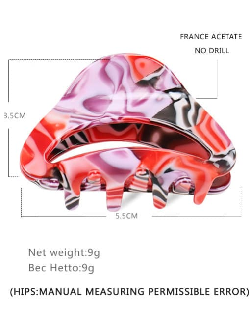 red Cellulose Acetate Hip Hop Geometric Jaw Hair Claw