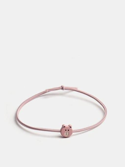 Mini Bear Pink Alloy Cute Bear  Multi Color Hair Rope
