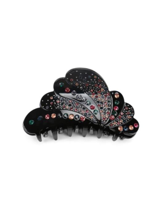 black Acrylic Minimalist Geometric Rhinestone Multi Color Jaw Hair Claw
