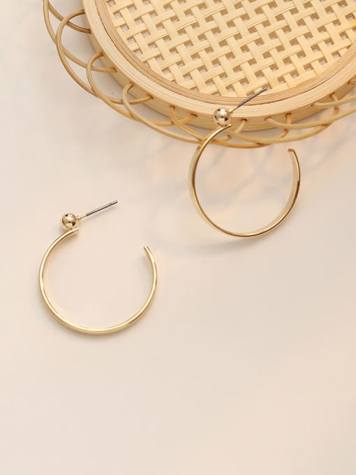 HYACINTH Copper Alloy Gold Round Statement Hoop Earring 2