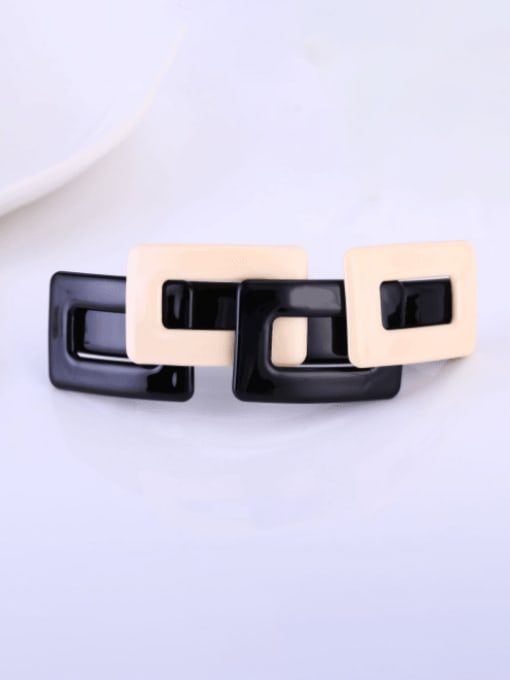 black and white Alloy Cellulose Acetate Vintage Geometric  Hair Barrette