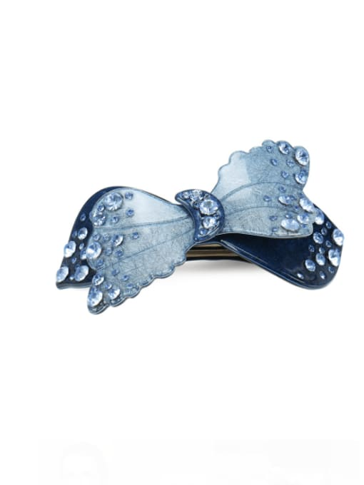 blue 1 Alloy Cellulose Acetate Minimalist Bowknot  Rhinestone Hair Barrette