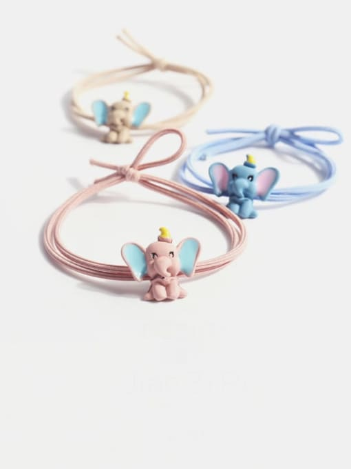 JoChic Alloy  Simple Cute Small Flying Elephant Multi Color Hair Rope 1
