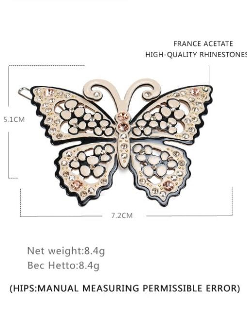 Frog clip Cellulose Acetate Minimalist Butterfly Alloy Rhinestone Hair Barrette