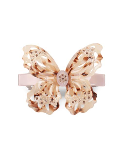 Hawksbill shell Cellulose Acetate Minimalist Butterfly Rhinestone Hair Barrette