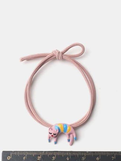 JoChic Alloy Enamel Cute Pink Curved Kitten Hair Rope 1