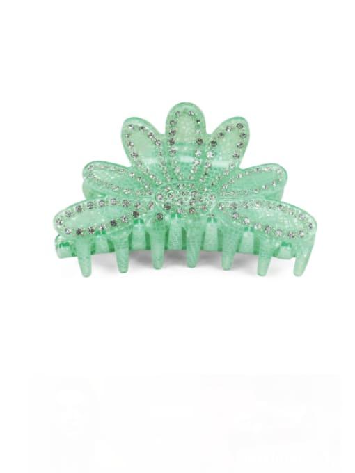 green Acrylic Minimalist Crown Alloy Rhinestone Multi Color Jaw Hair Claw