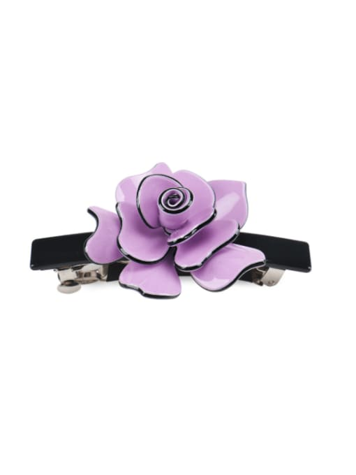 Dark purple Alloy Acrylic Minimalist Flower  Rhinestone Hair Barrette