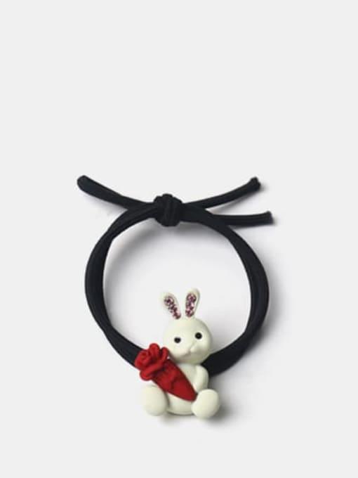 Radish rabbit Alloy Cute Rabbit  Rhinestone White Hair Rope