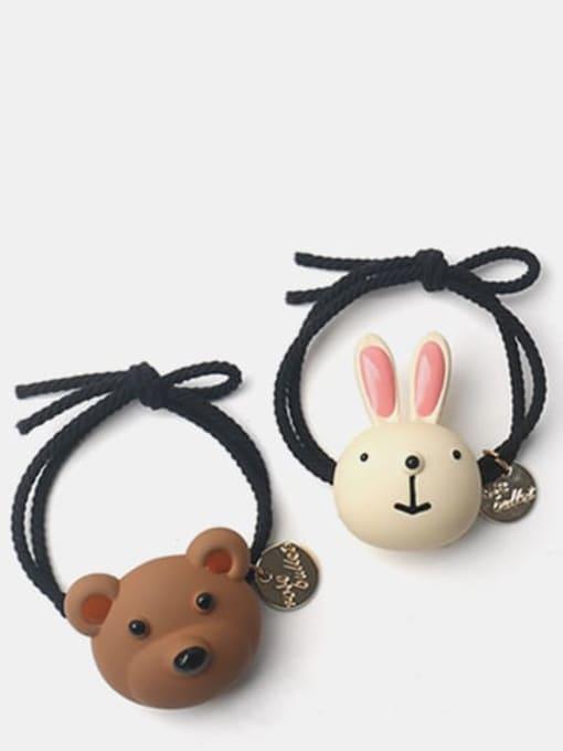 JoChic Enamel Cute Rabbit Resin Multi Color Hair Rope 1