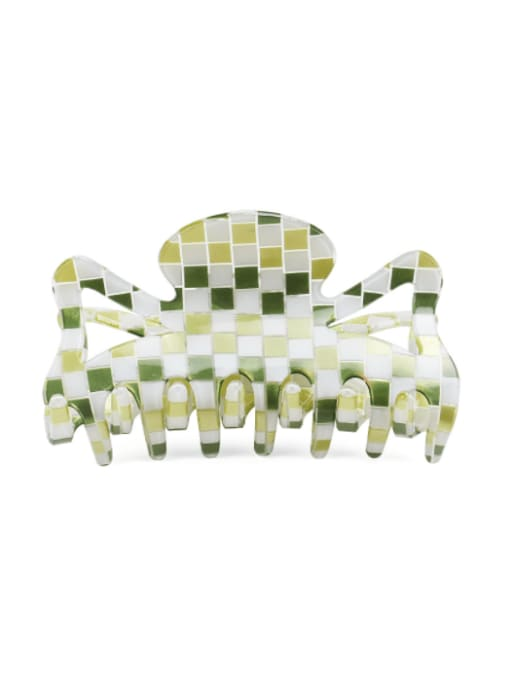 Grid green PVC Minimalist Geometric Multi Color Jaw Hair Claw