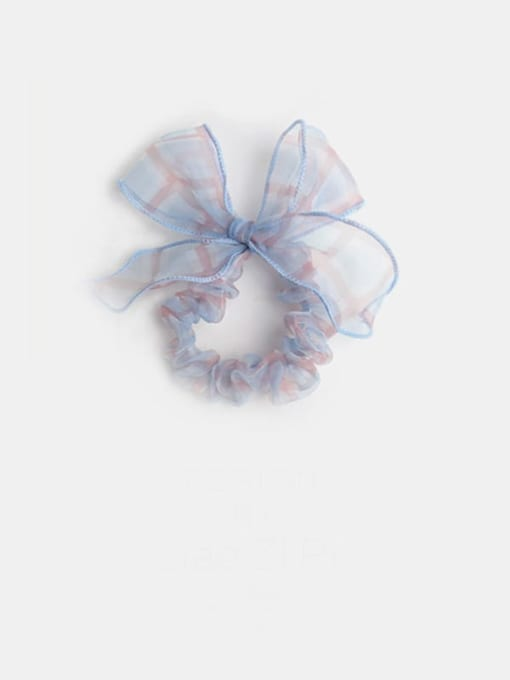Blue Plaid Bow Yarn Minimalist Bowknot Hair Barrette