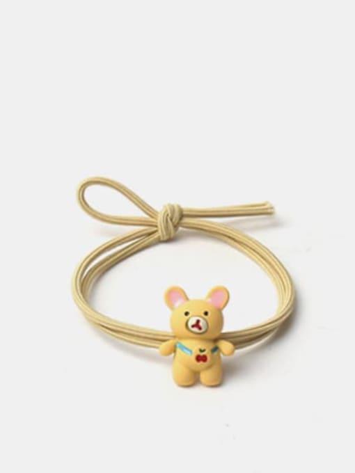Yellow cute bear hair rope Alloy Enamel Cute Frog  Multi Color Hair Rope