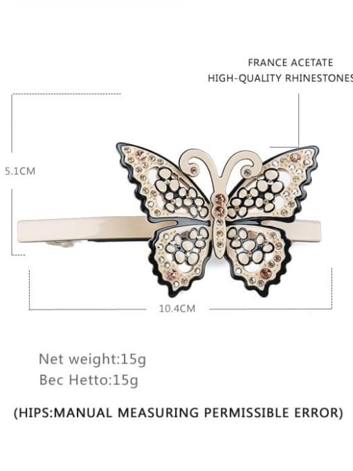 BUENA Cellulose Acetate Minimalist Butterfly Alloy Rhinestone Hair Barrette 2