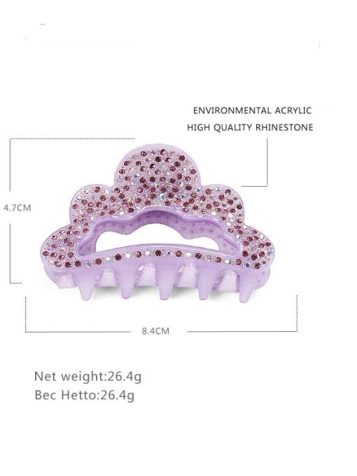 BUENA Acrylic Minimalist Crown Alloy Rhinestone Multi Color Jaw Hair Claw 2