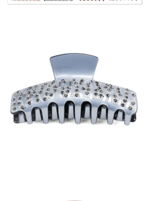 Grey Cellulose Acetate Vintage Geometric Rhinestone Jaw Hair Claw
