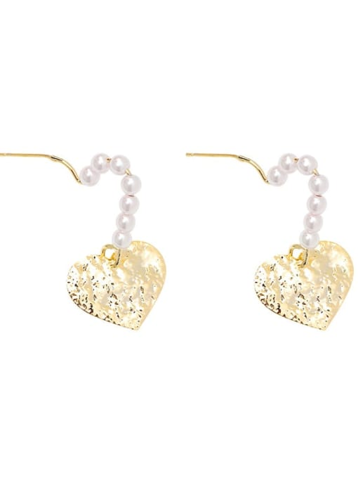 HYACINTH Alloy Freshwater Pearl Gold Heart Classic Earring 4