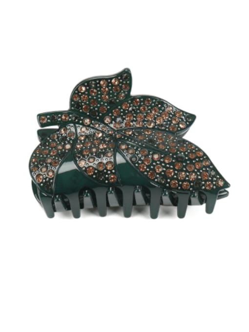blackish green Acrylic Minimalist Leaf Rhinestone Jaw Hair Claw