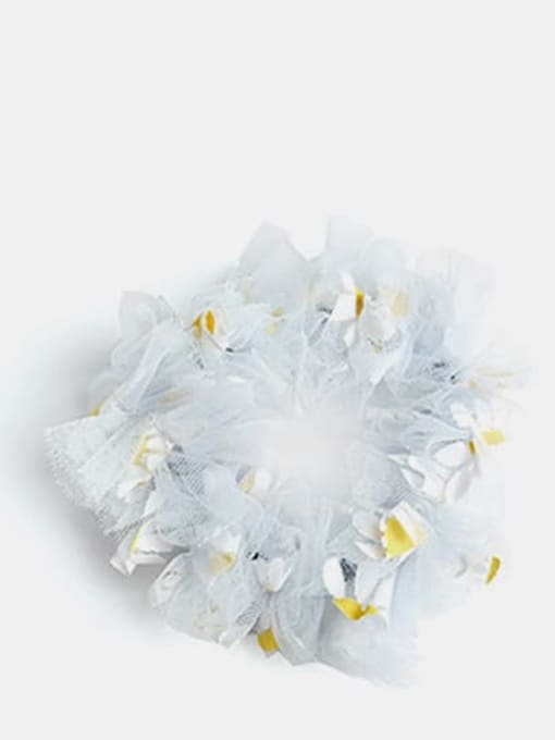 Blue  large intestine circle Net Yarn Small Daisies Minimalist Flower Hair Barrette